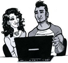 Couple viewing laptop drawing